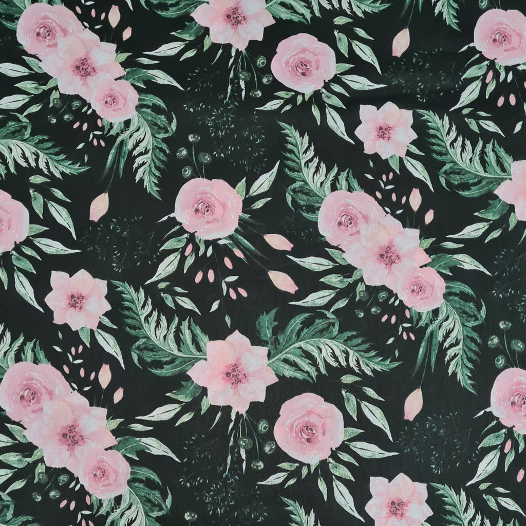 Rose Garden Black Cotton, sold by half metre