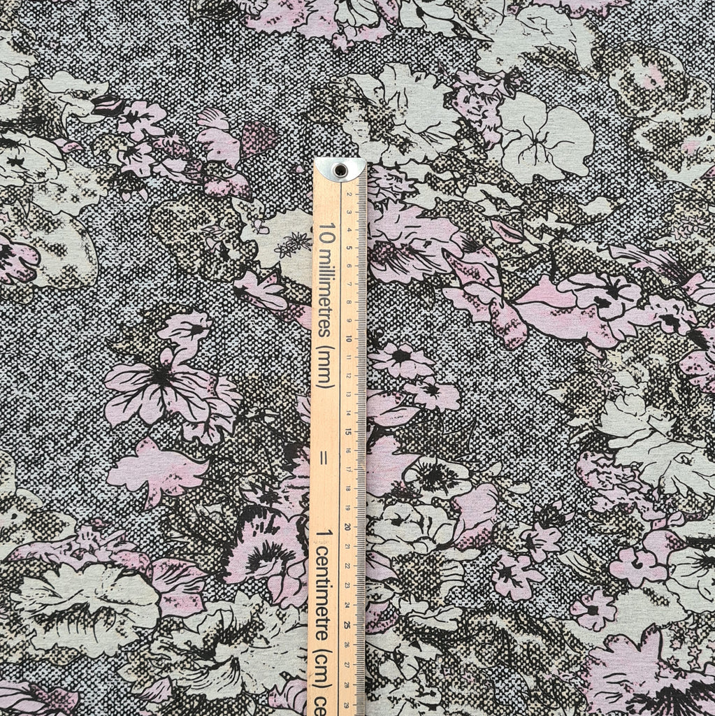 Sketched Floral Jersey, sold by half metre