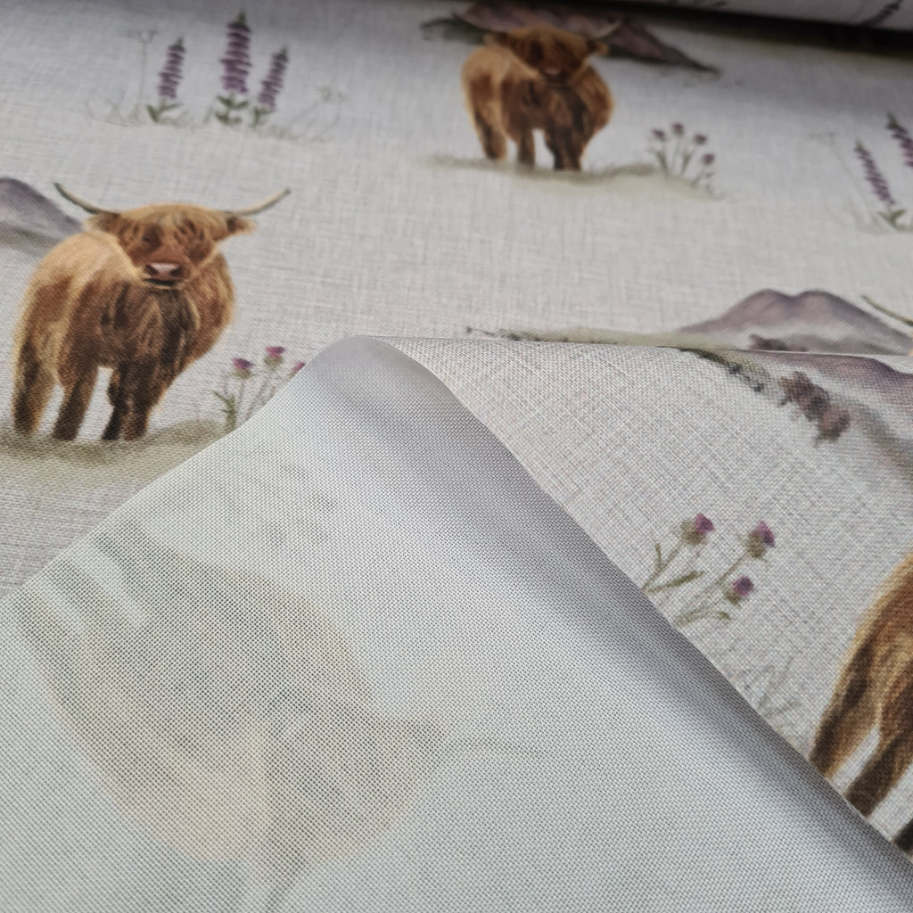 Highland Cow Waterproof Fabric, sold by half metre