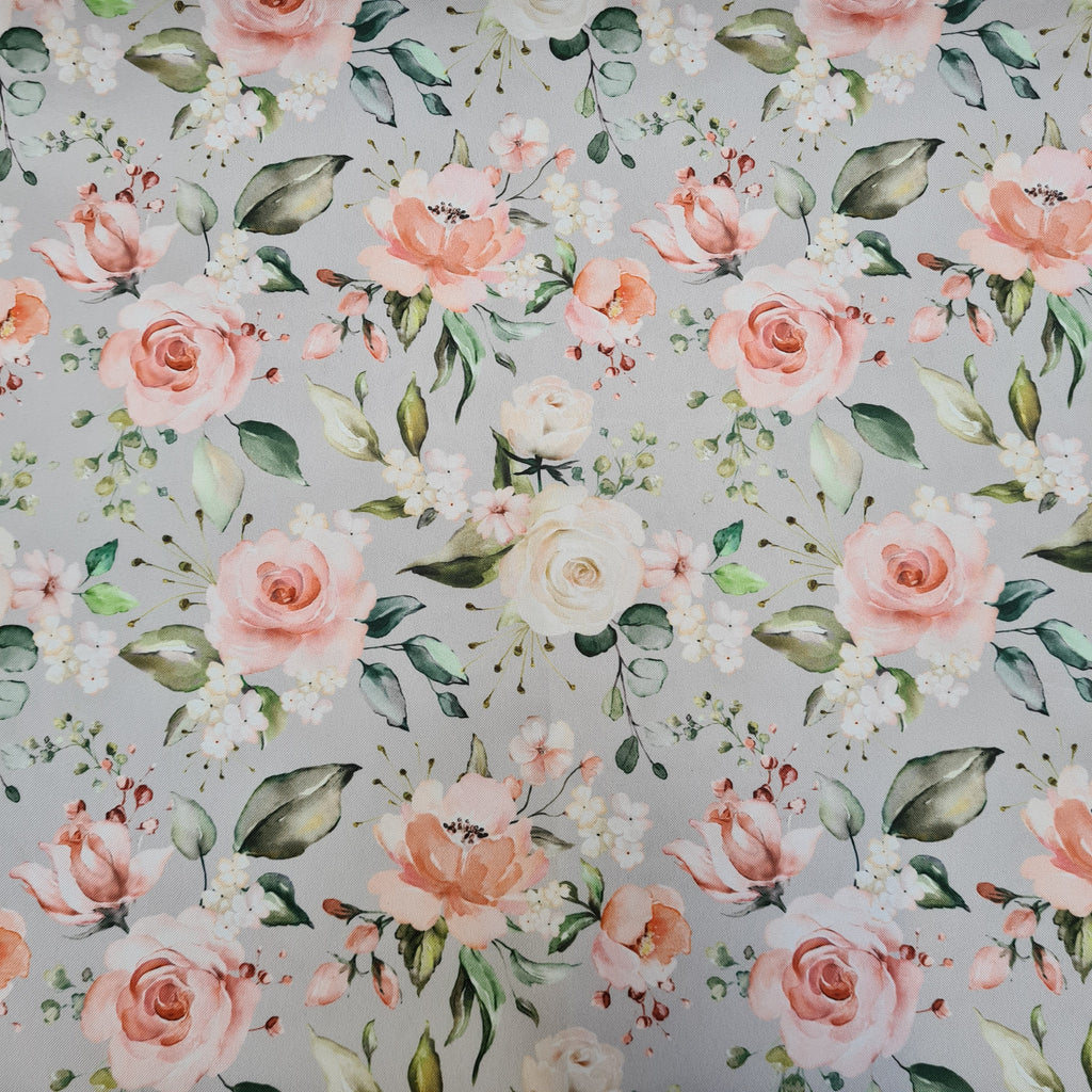 Waterproof Fabric Grey Roses sold by half metre