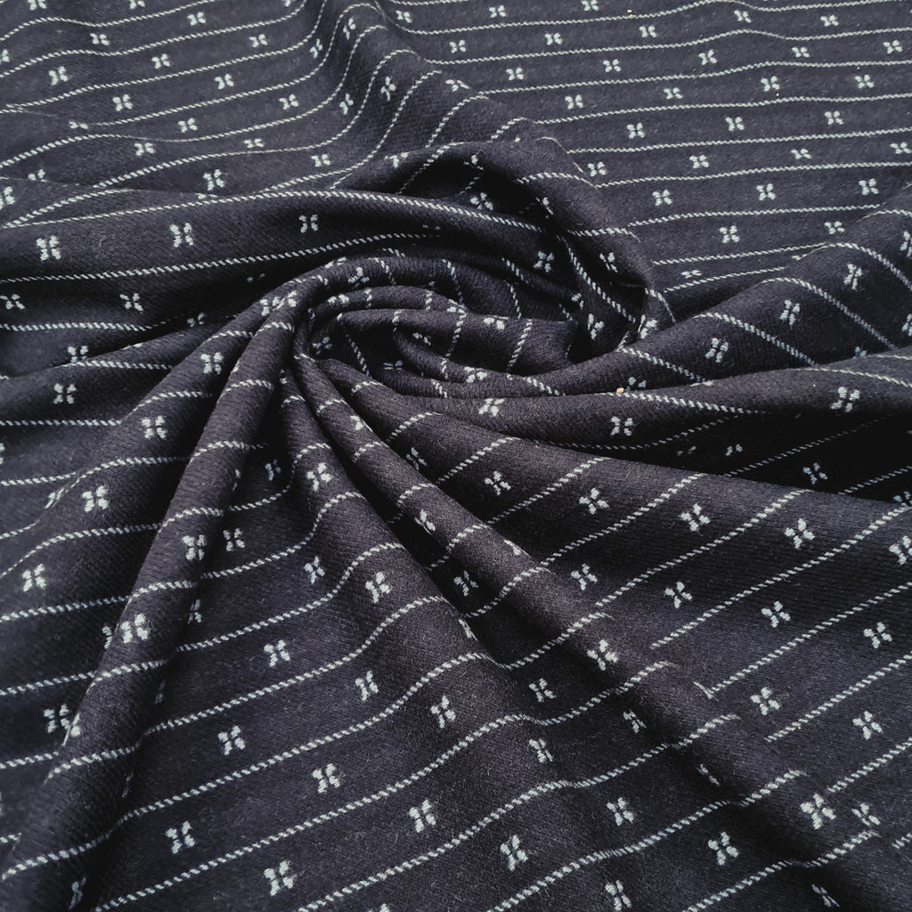 Navy Patterned Wool Fabric, priced by half metre