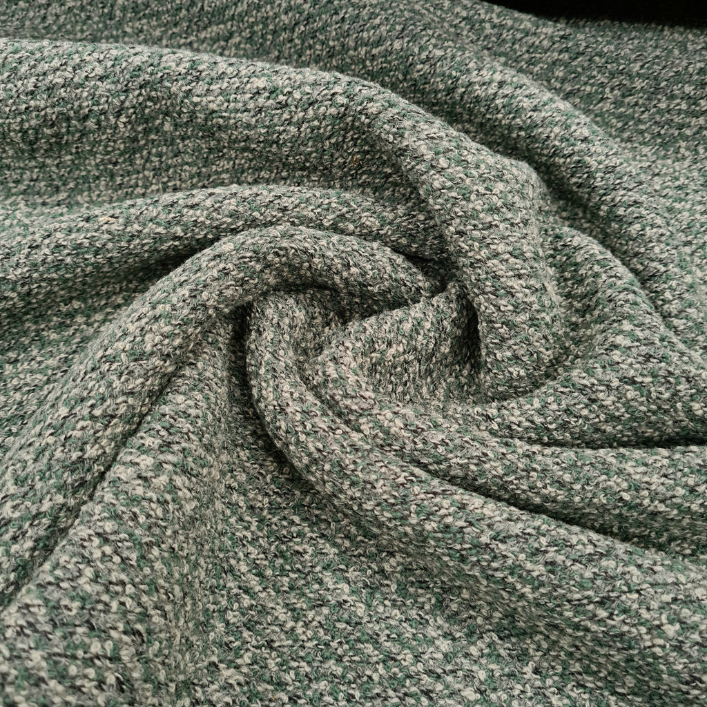 Boucle Sage Wool Fabric, sold by half metre