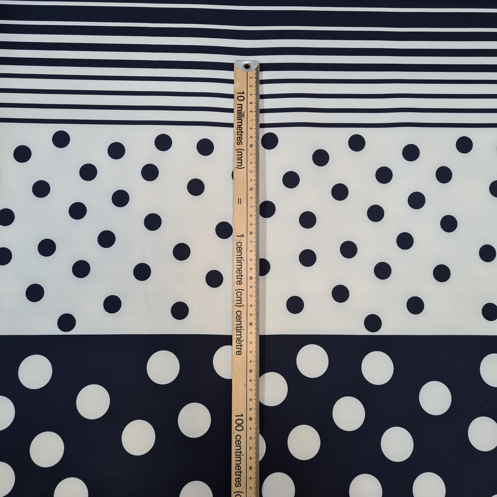 Navy Stripes and Spots Scuba, sold by half metre