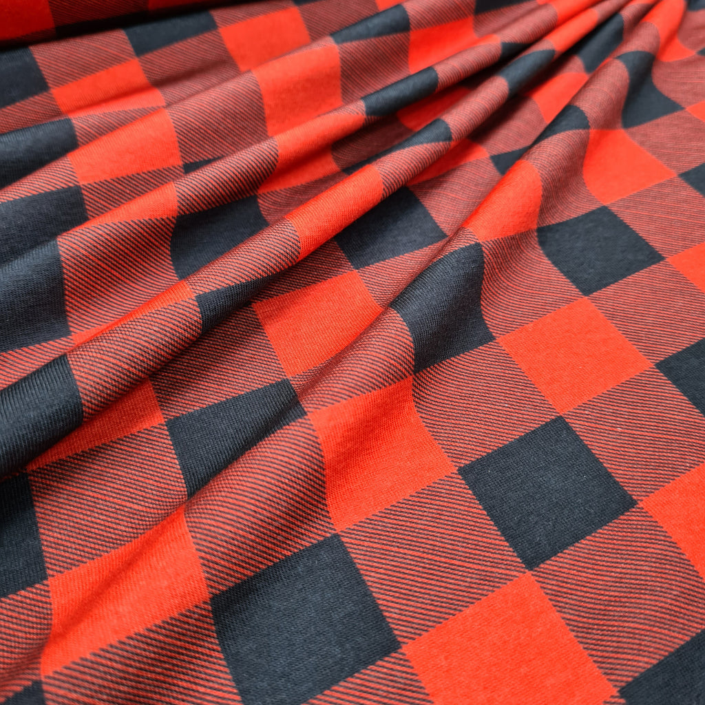 Orange and Black Checks Jersey, sold by half metre