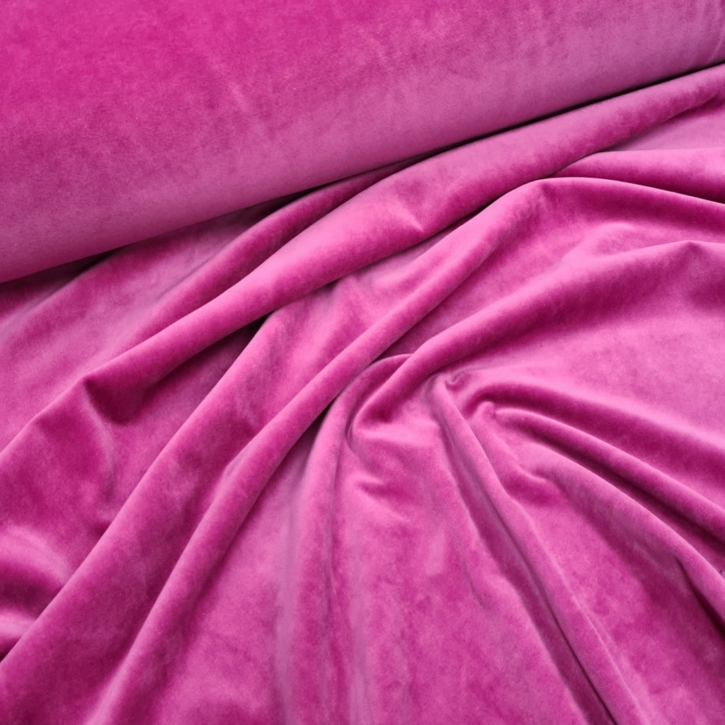 Fuchsia Stretch Velour, sold by half metre