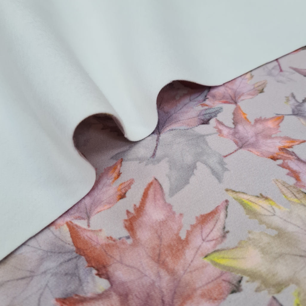 Leaves Blush Coat Fabric, priced by half metre