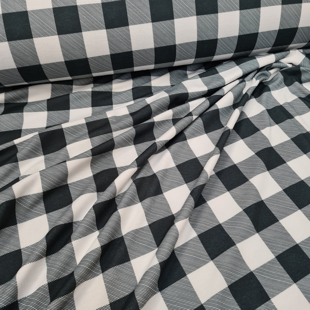 Grey and White Checks Jersey, priced by half metre