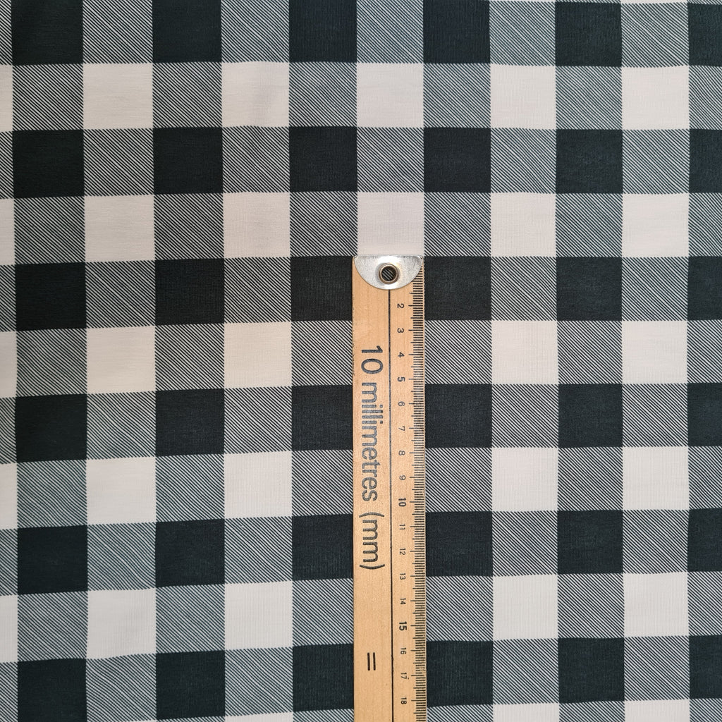 Grey and White Checks Jersey, sold by half metre