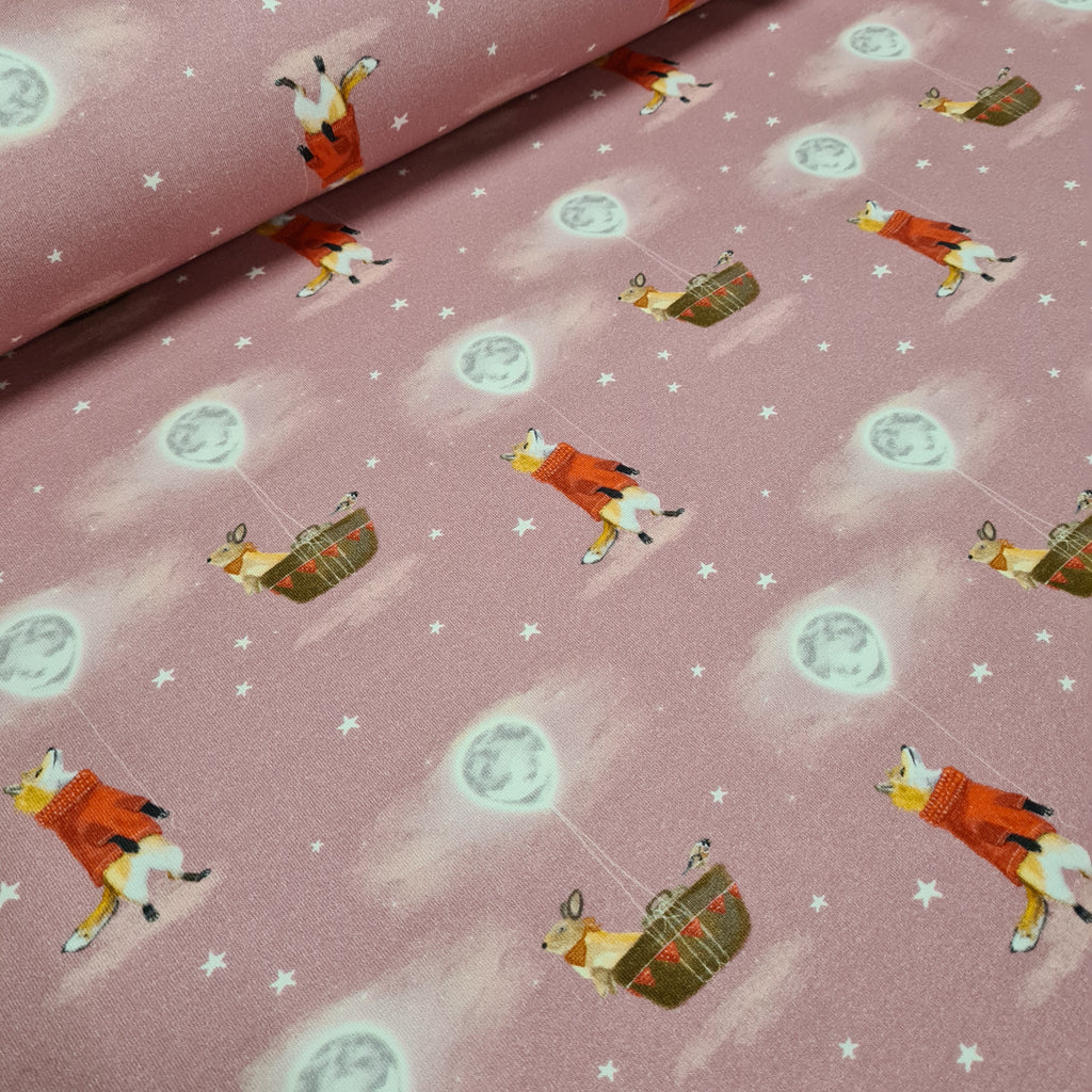 Fox and the Moon Balloon Pink Jersey, sold by half metre