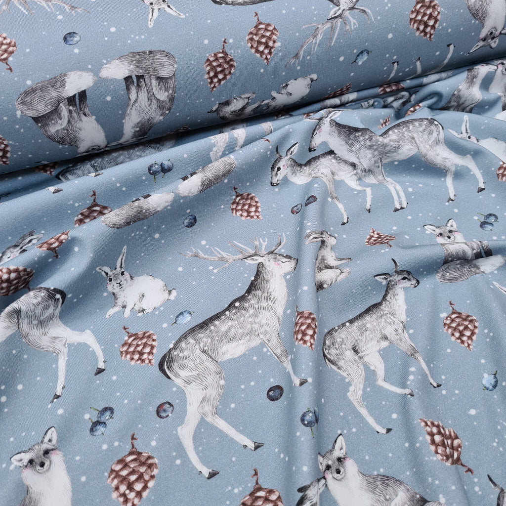 Woodland Love Blue Jersey, sold by half metre