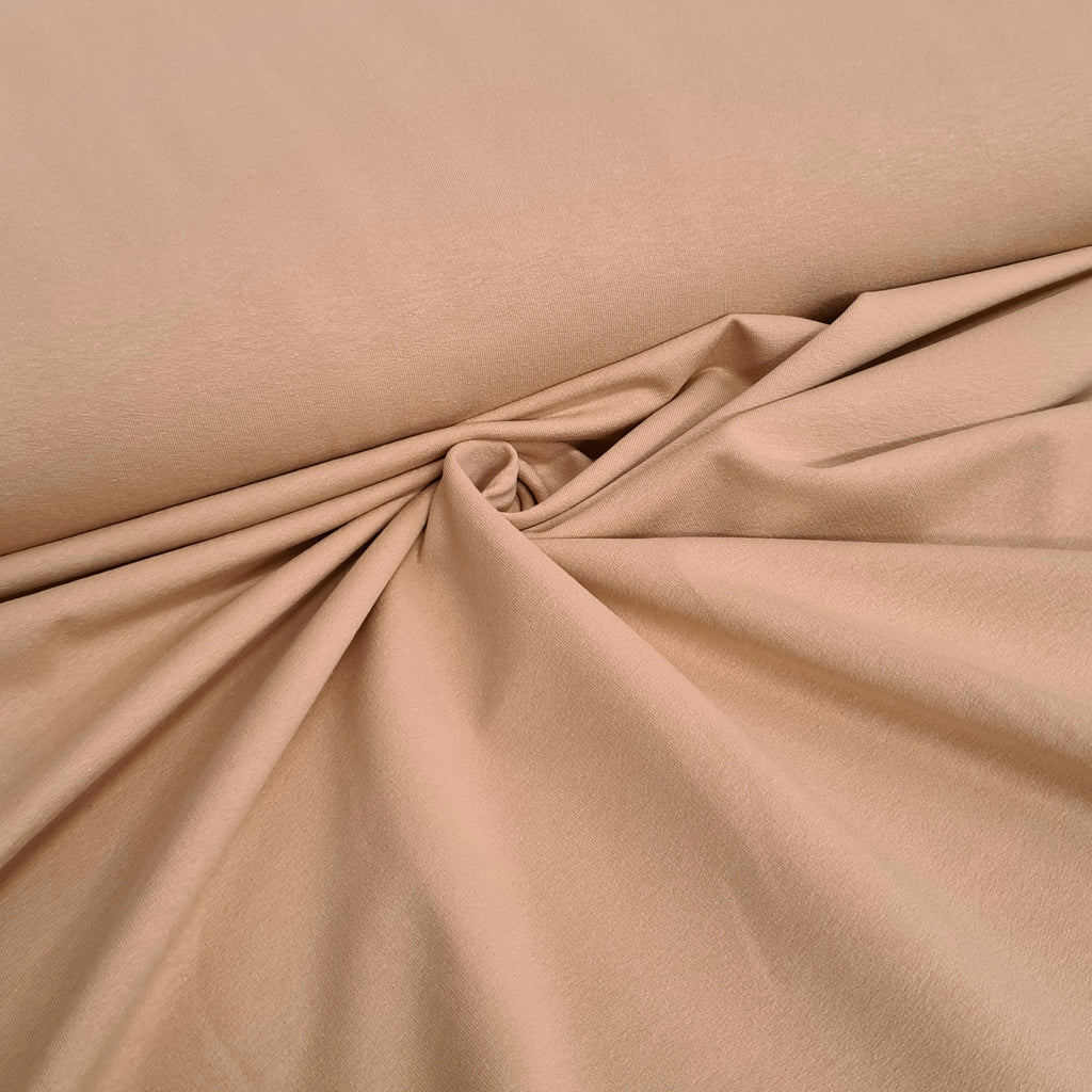 Beige Plain French Terry, priced by half metre