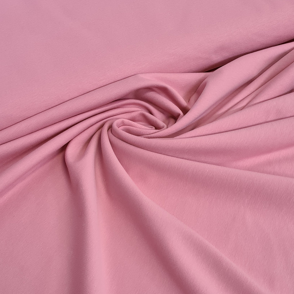 Rose Pink Plain French Terry Jersey, sold by half metre