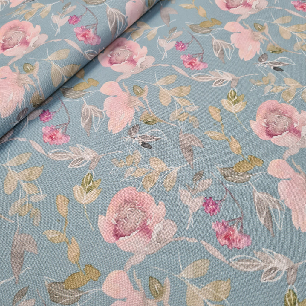 Waterproof Watercolour Floral Fabric, sold by half metre