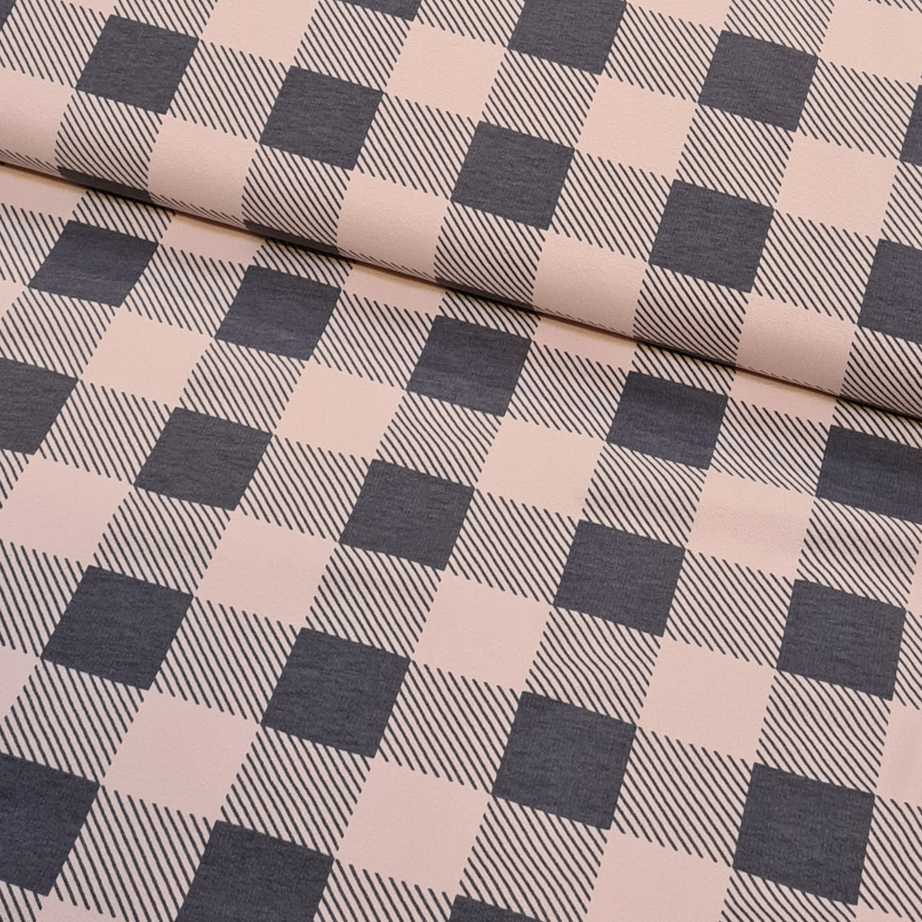 Pink Checkered French Terry, sold by half metre