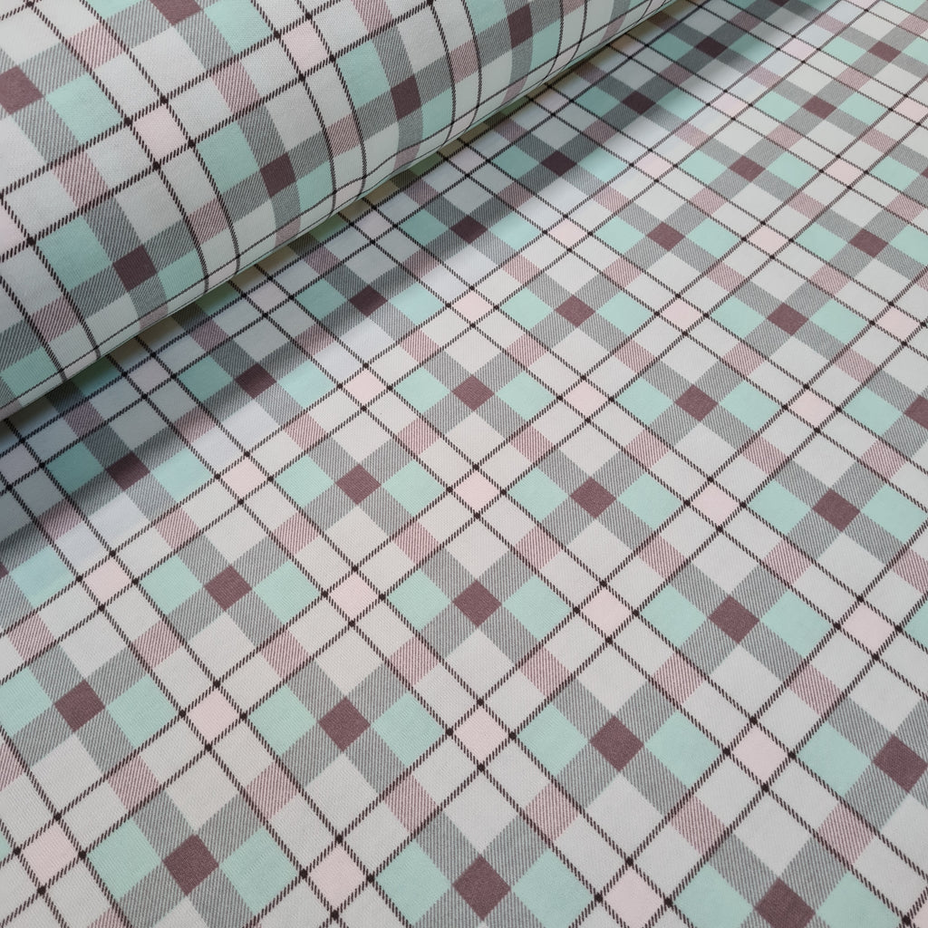 Aqua Grey Checks Cotton Jersey, priced by half metre