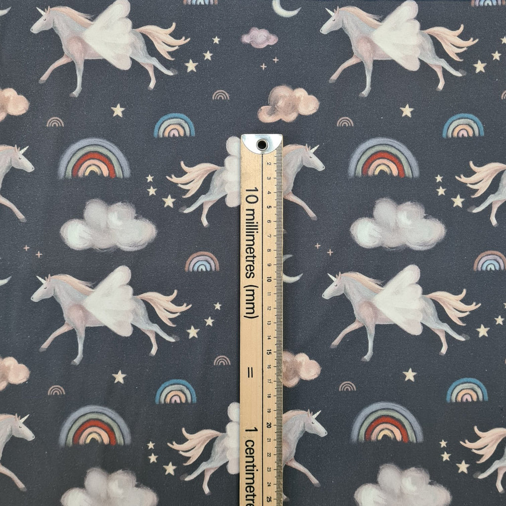 Dreamy Unicorns Grey Jersey, sold by half metre