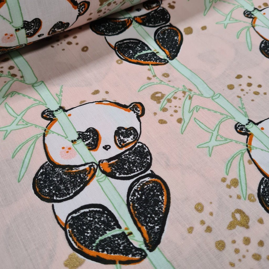 Bamboo Panda Pink Cotton, sold by half metre