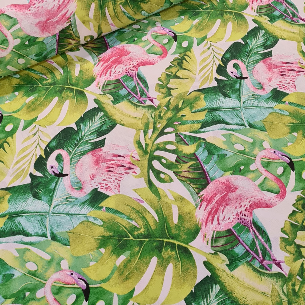 Tropical Flamingos Cotton, sold by half metre