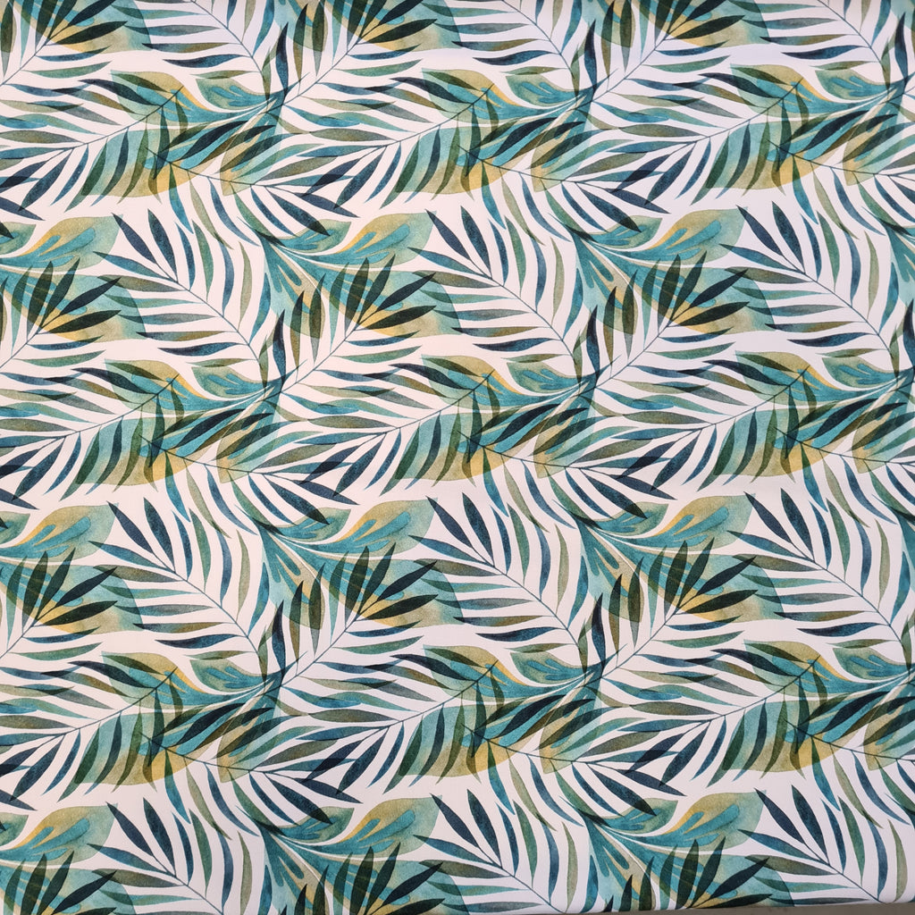 Tropical Leaves Jersey, sold by half metre