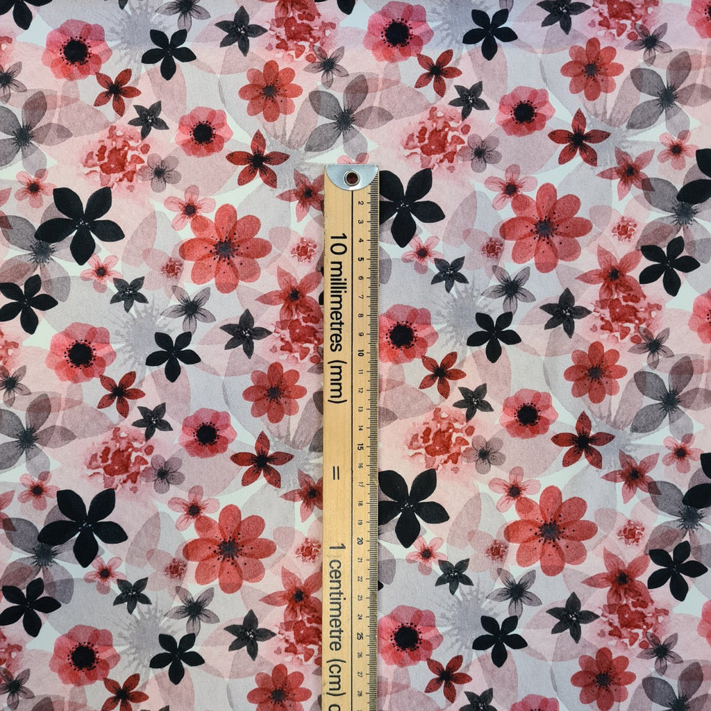 Red and Grey Flowers Jersey, sold by half metre