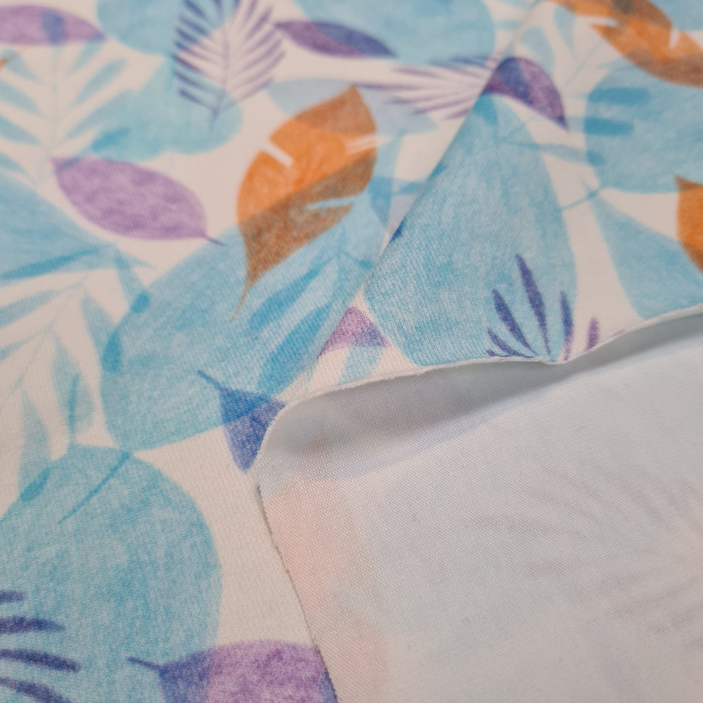 Pastel Leaves Jersey, priced by half metre