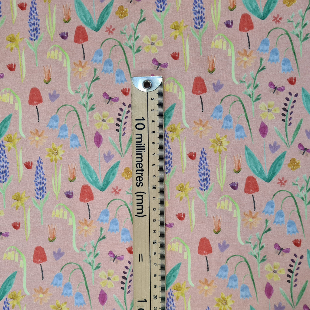 Watercolour Meadow Peach Jersey, sold by half metre