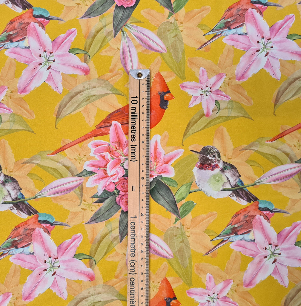 Birds on Mustard Jersey, sold by half metre