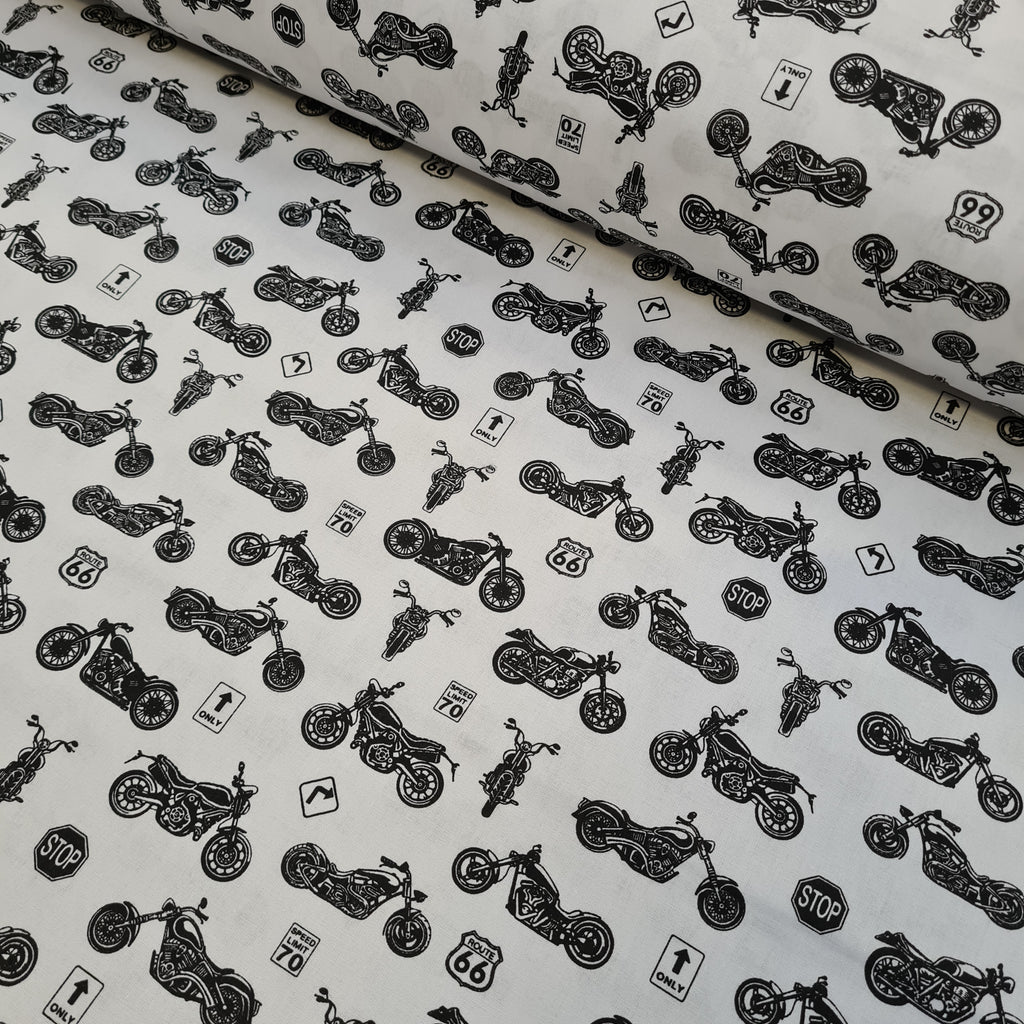 Motorcycle White Cotton, sold by half metre
