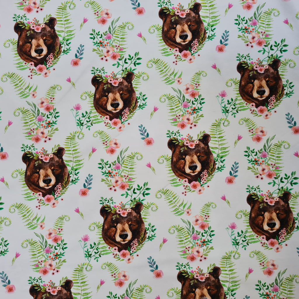 Floral Bears Jersey, sold by half metre