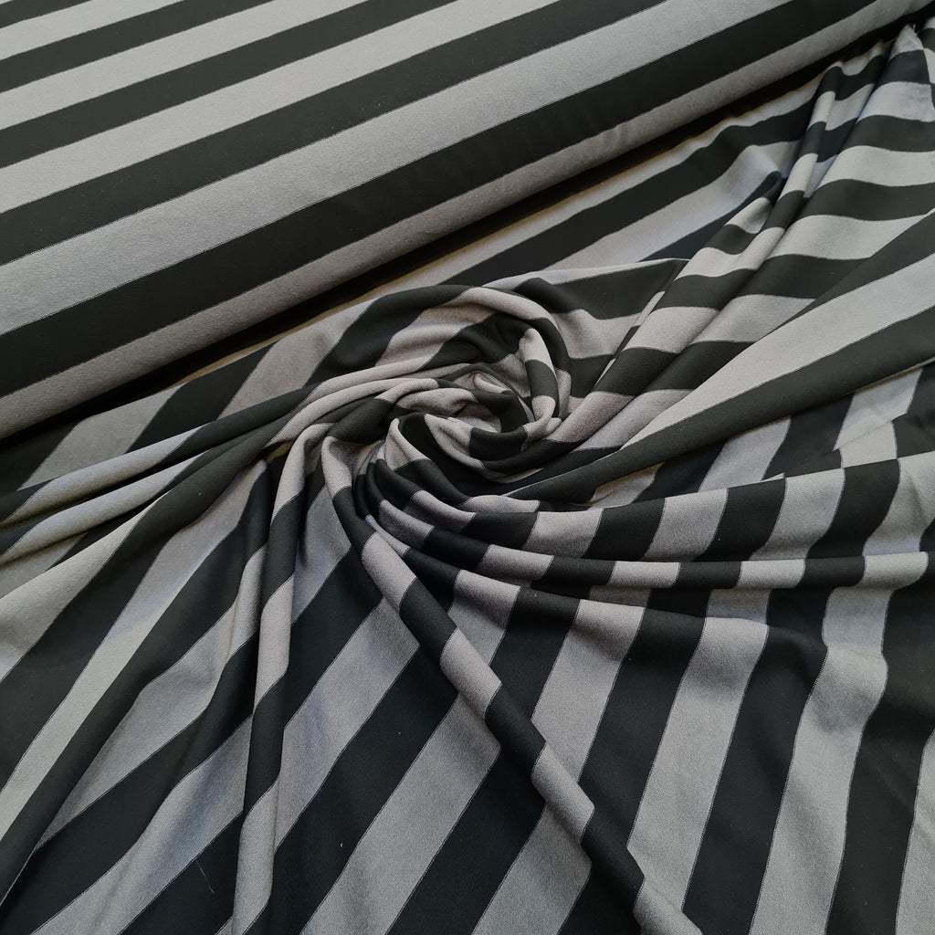 Grey and Black Stripes Viscose Jersey, sold by half metre