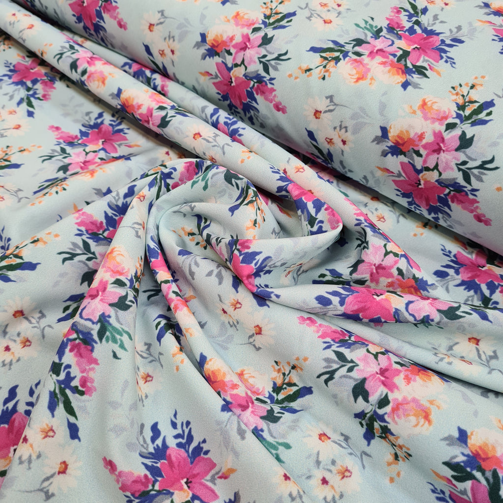 Floral Mint Koshibo Crepe, priced by half metre