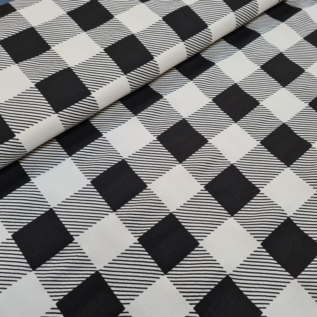 Black Checkered French Terry, priced by half metre