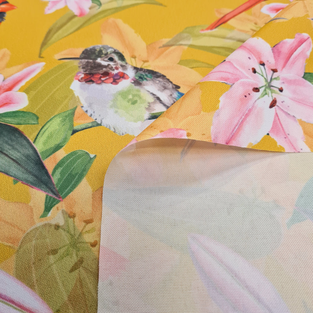 Waterproof Fabric Birds on Mustard, priced by half metre