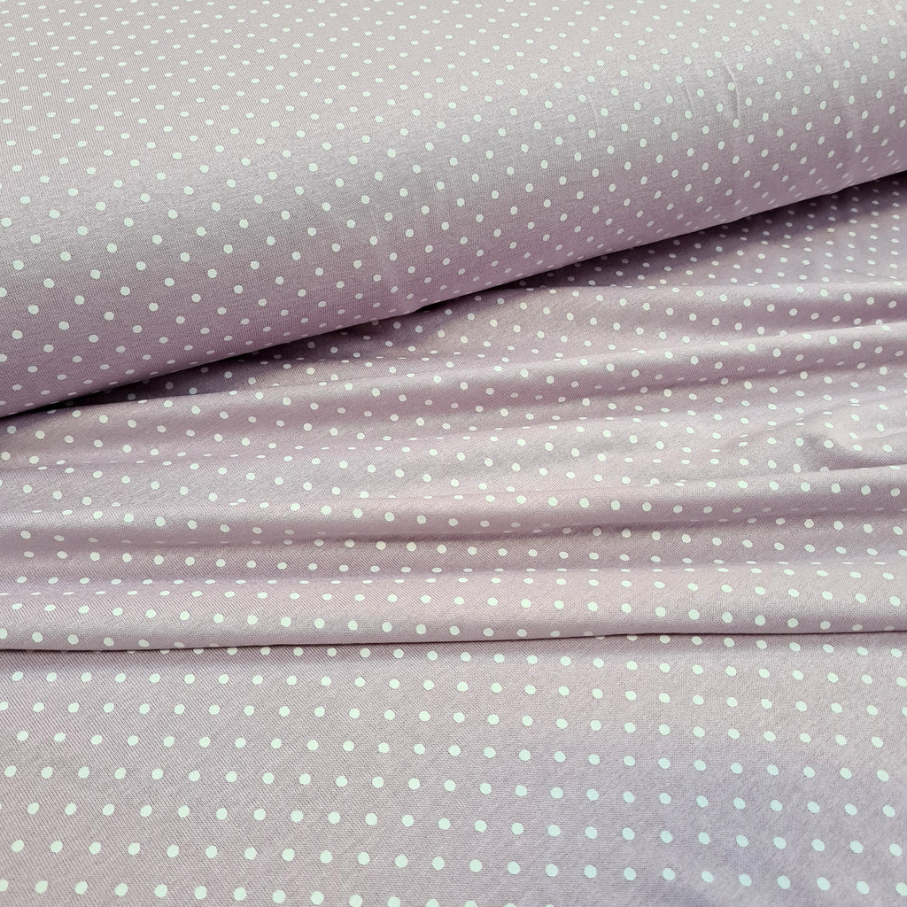 Spotty Lilac Viscose Jersey, priced by half metre