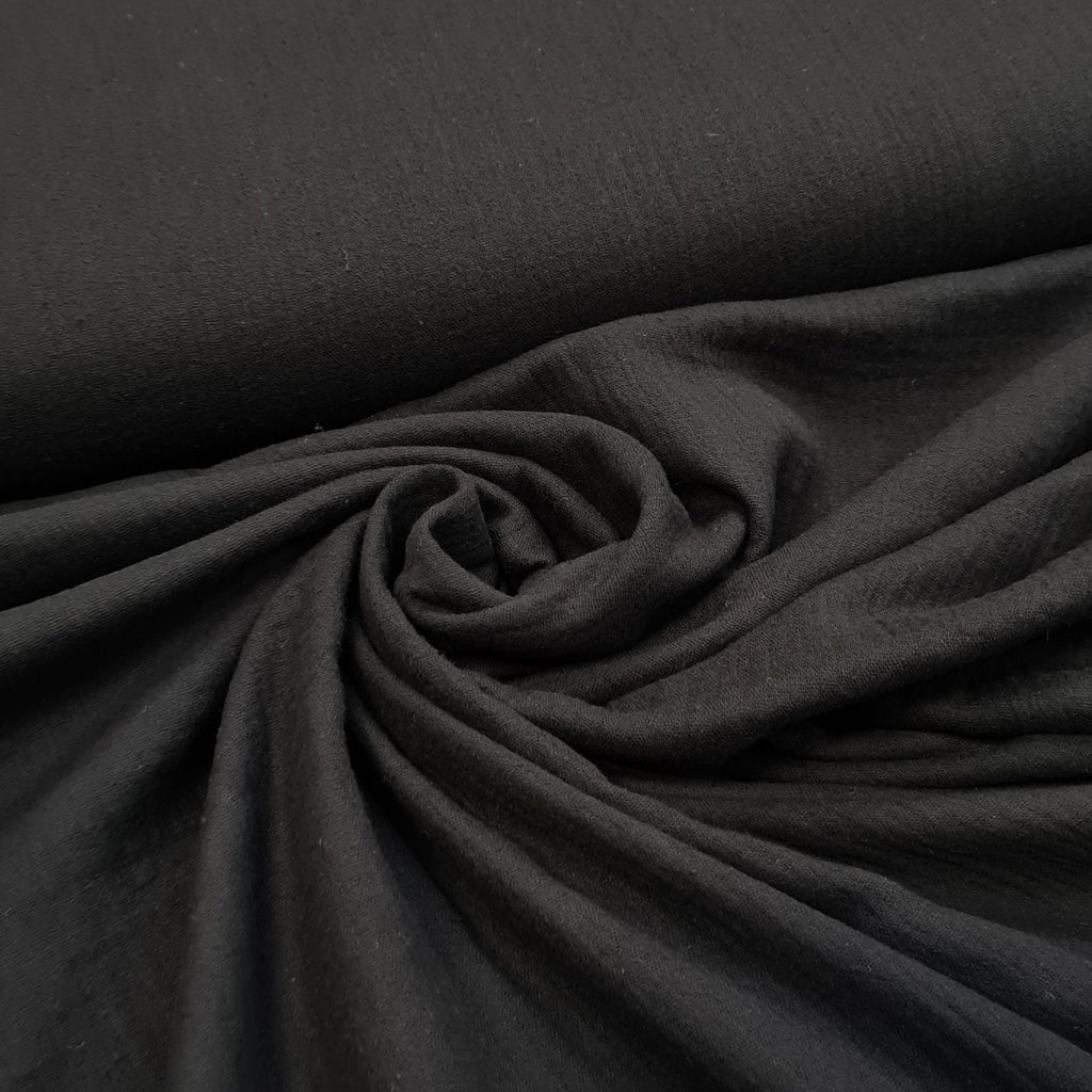 Plain Black Double Gauze, priced by half metre
