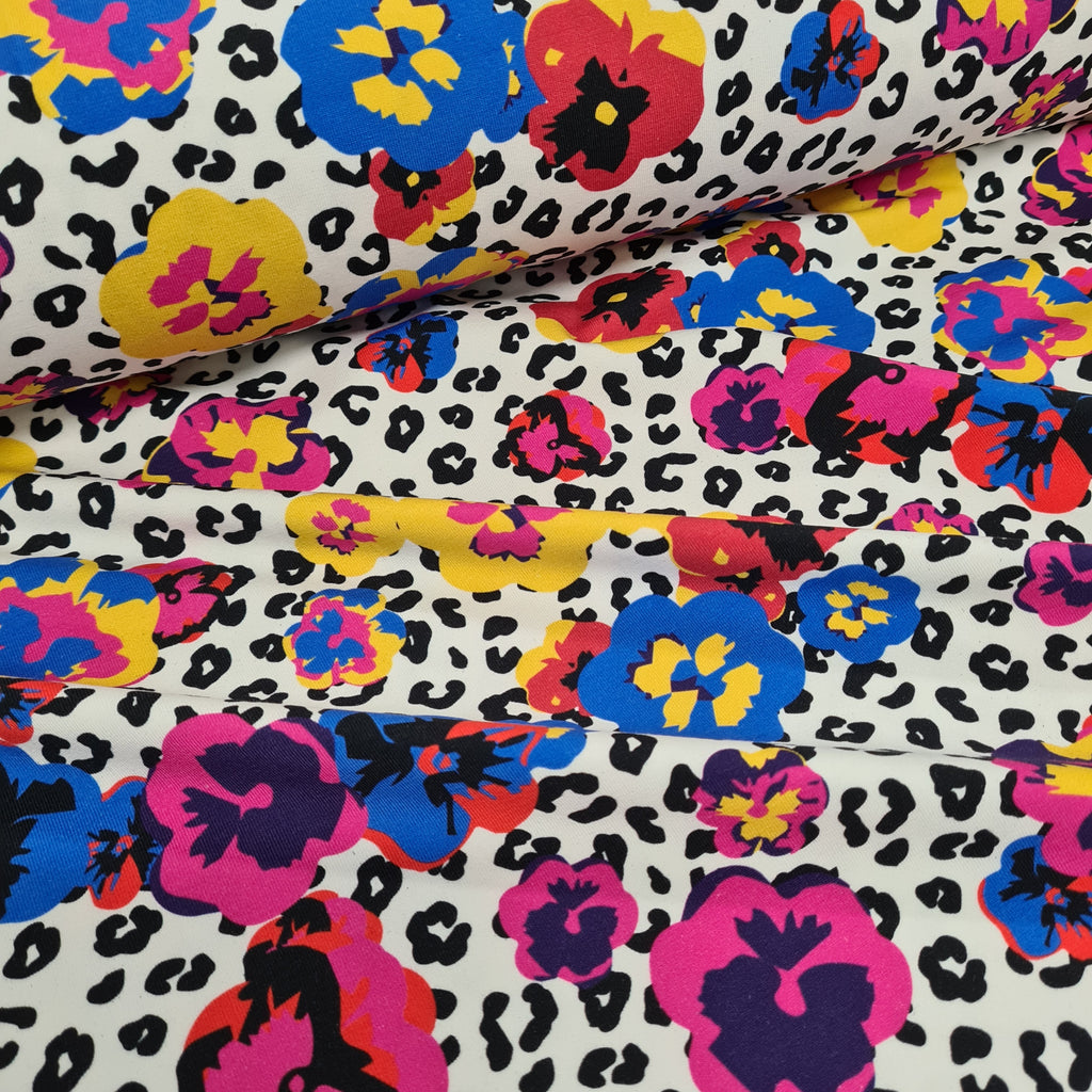 Wild Pansies Jersey, priced by half metre