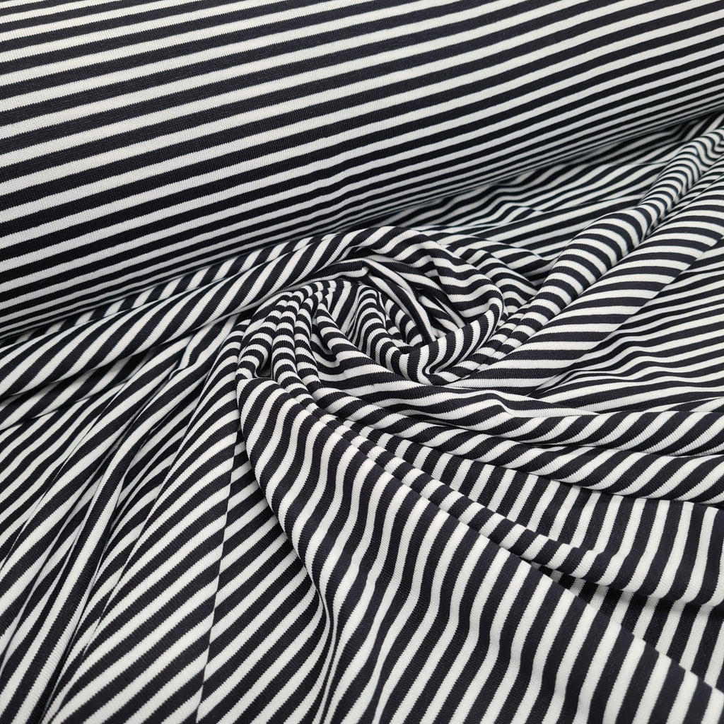 Black and White Stripes Viscose Jersey, priced by half metre