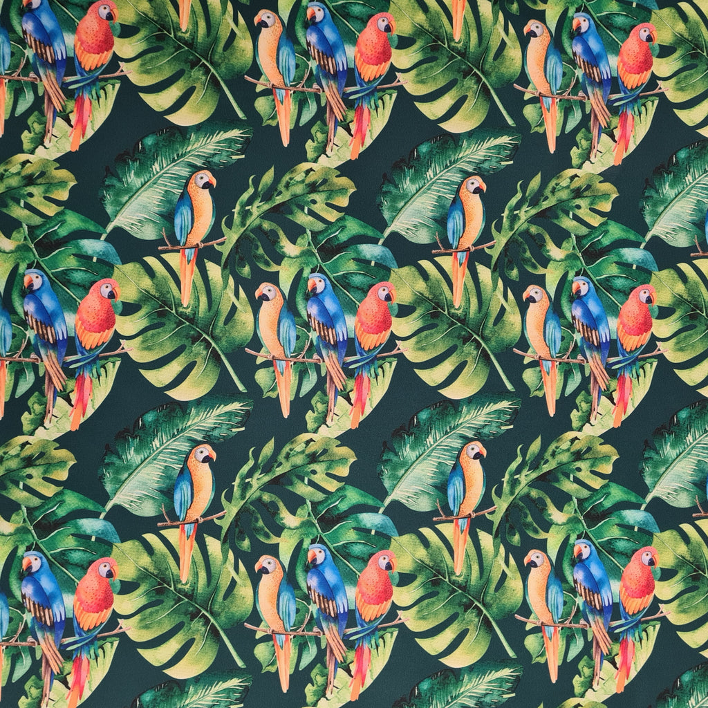 Waterproof Fabric Tropical Parrots , priced by half metre