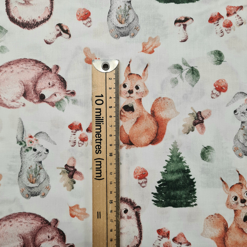 Woodland Friends White Cotton, priced by half metre