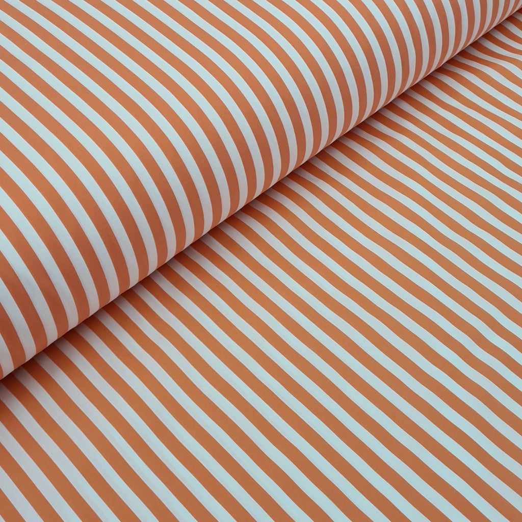 Coral Stripes Premium Stretch Shirting Polycotton, priced  by half metre