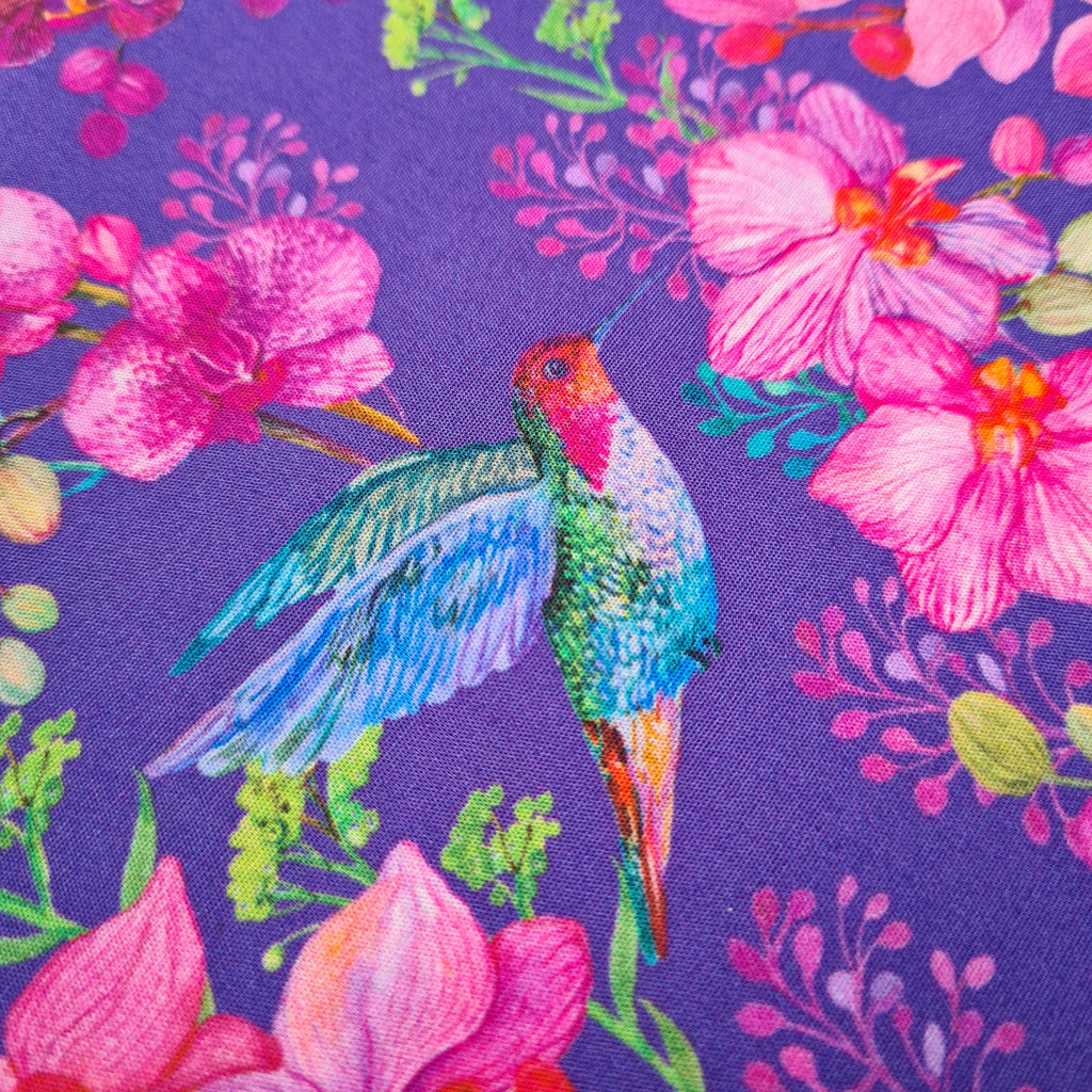 Woven Cotton Hummingbirds and Orchids, priced by half metre