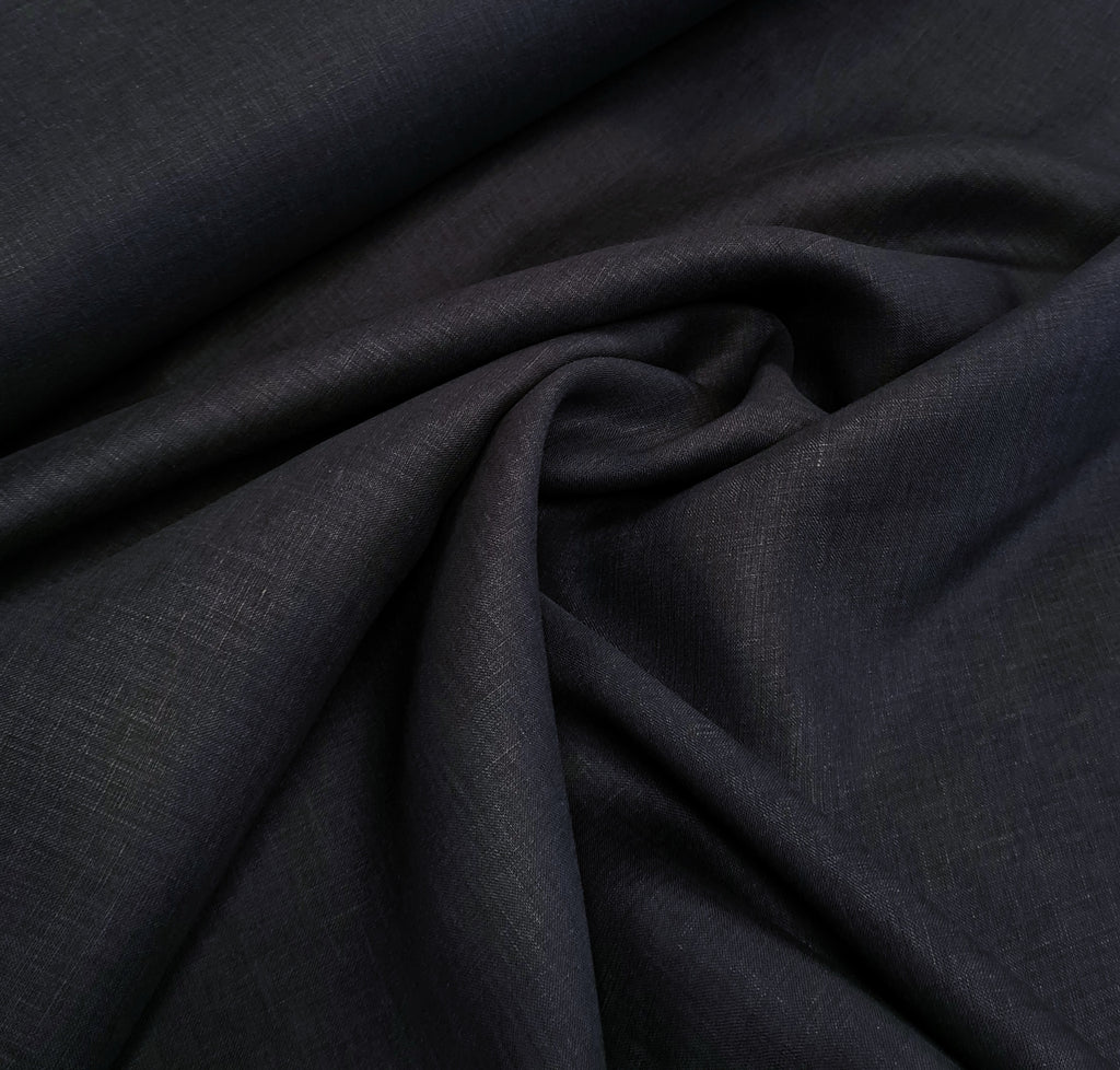 Plain Navy Dress Linen, priced by half metre