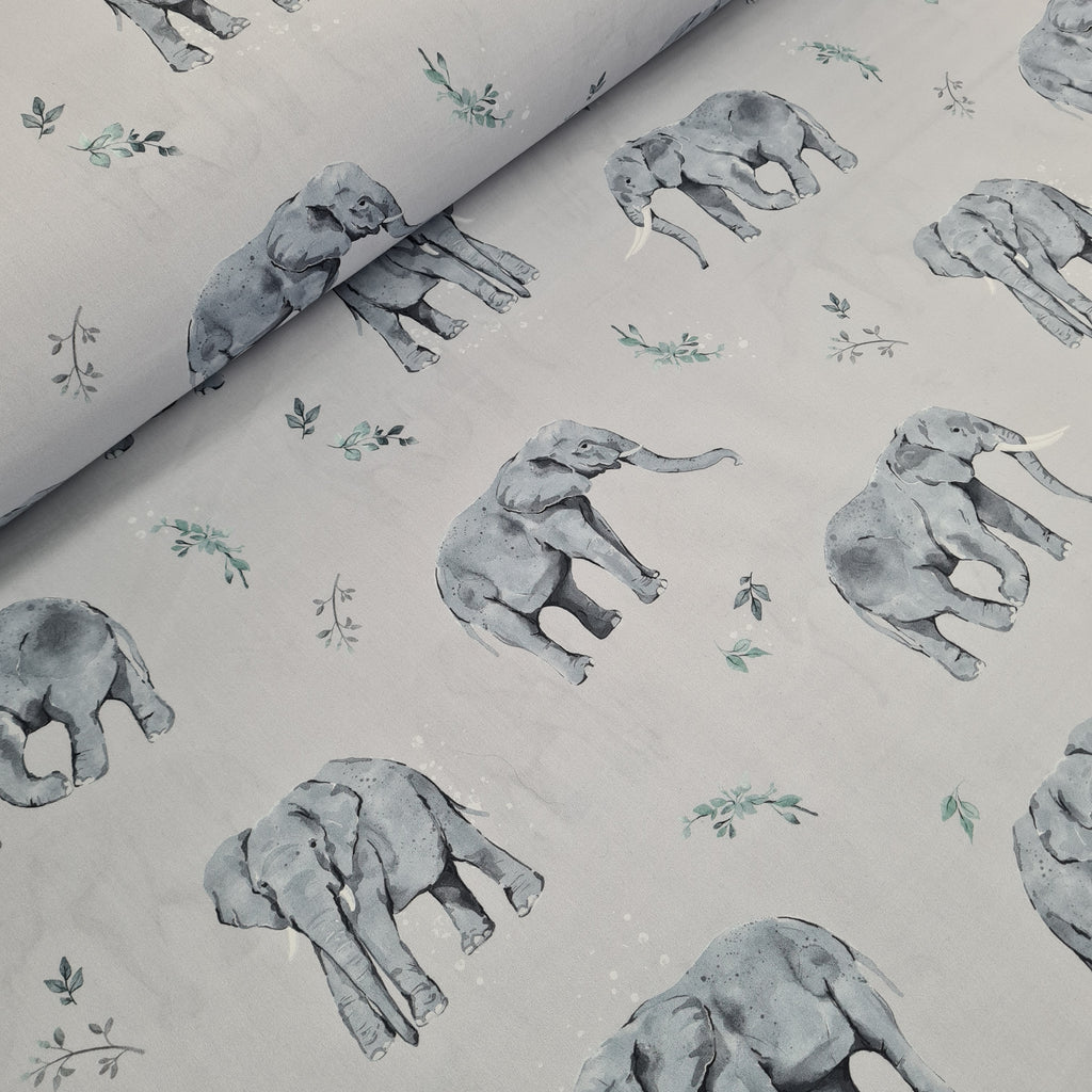 Woven Cotton Elephants Grey, priced by half metre