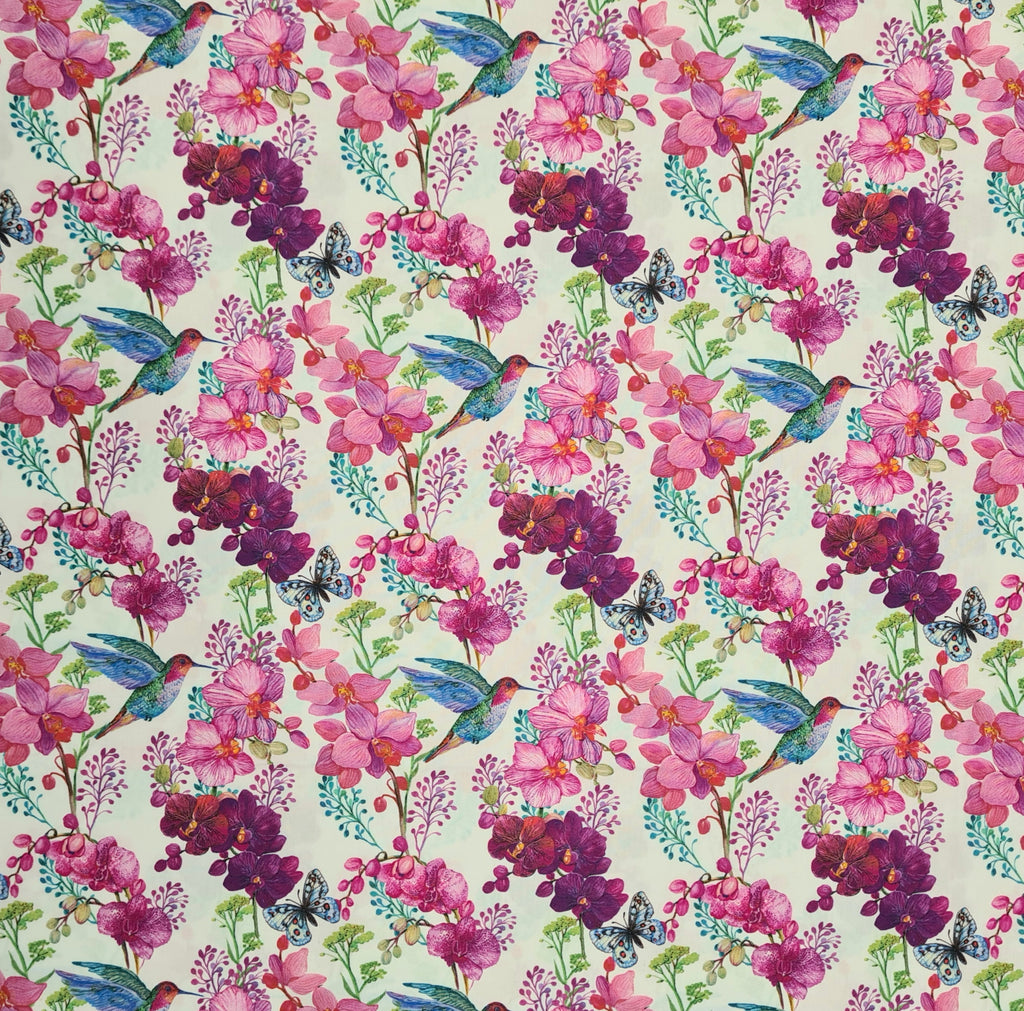 Woven Cotton Hummingbirds and Orchids White, priced by half metre