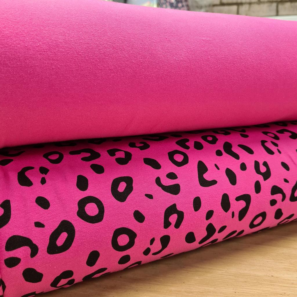 Leopard Cerise Single Jersey, priced by half metre