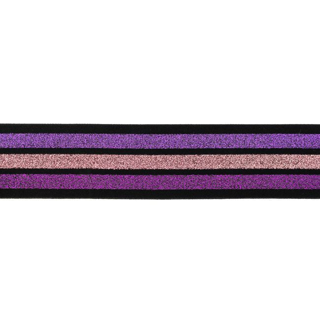 Glitter Stripes Elastic 40mm, various designs