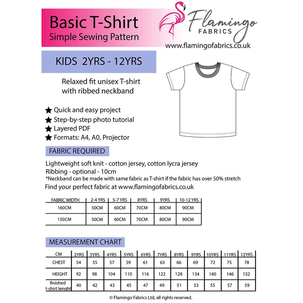 Basic T-Shirt Sewing Pattern Kids 2yrs- 12yrs PDF Digital Pattern