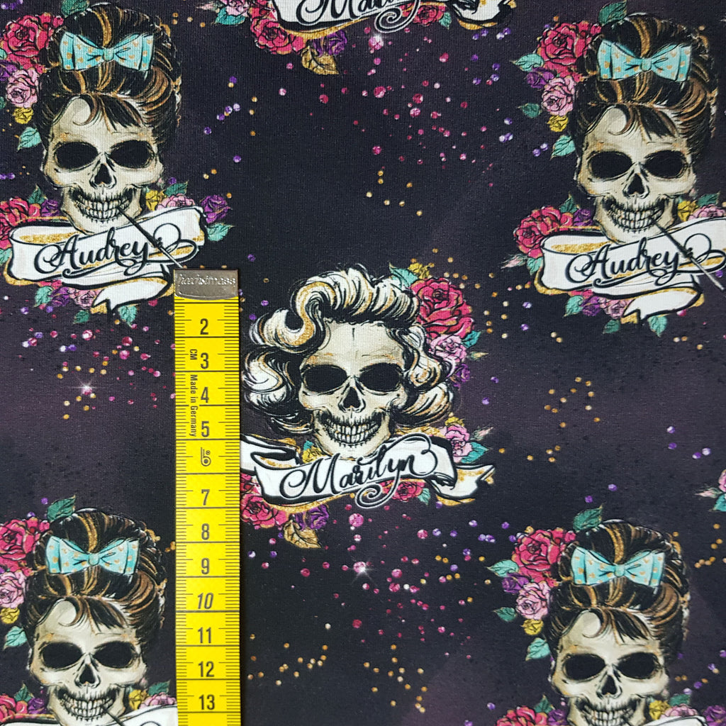 Hollywood skulls jersey, sold by half metre