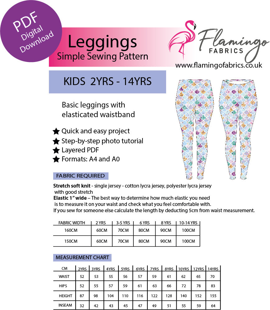 PDF Digital Sewing Pattern Basic Leggings Kids Sizes 2yrs- 14yrs