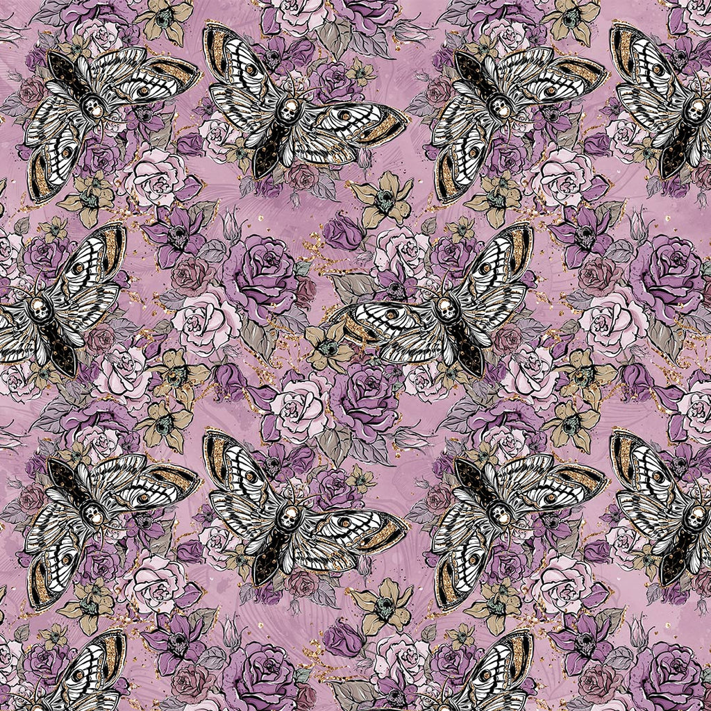 Moths and Roses Single Jersey, sold by half metre pre-order 27/1